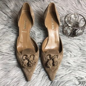 Prada suede taupe low heel pointed toe
